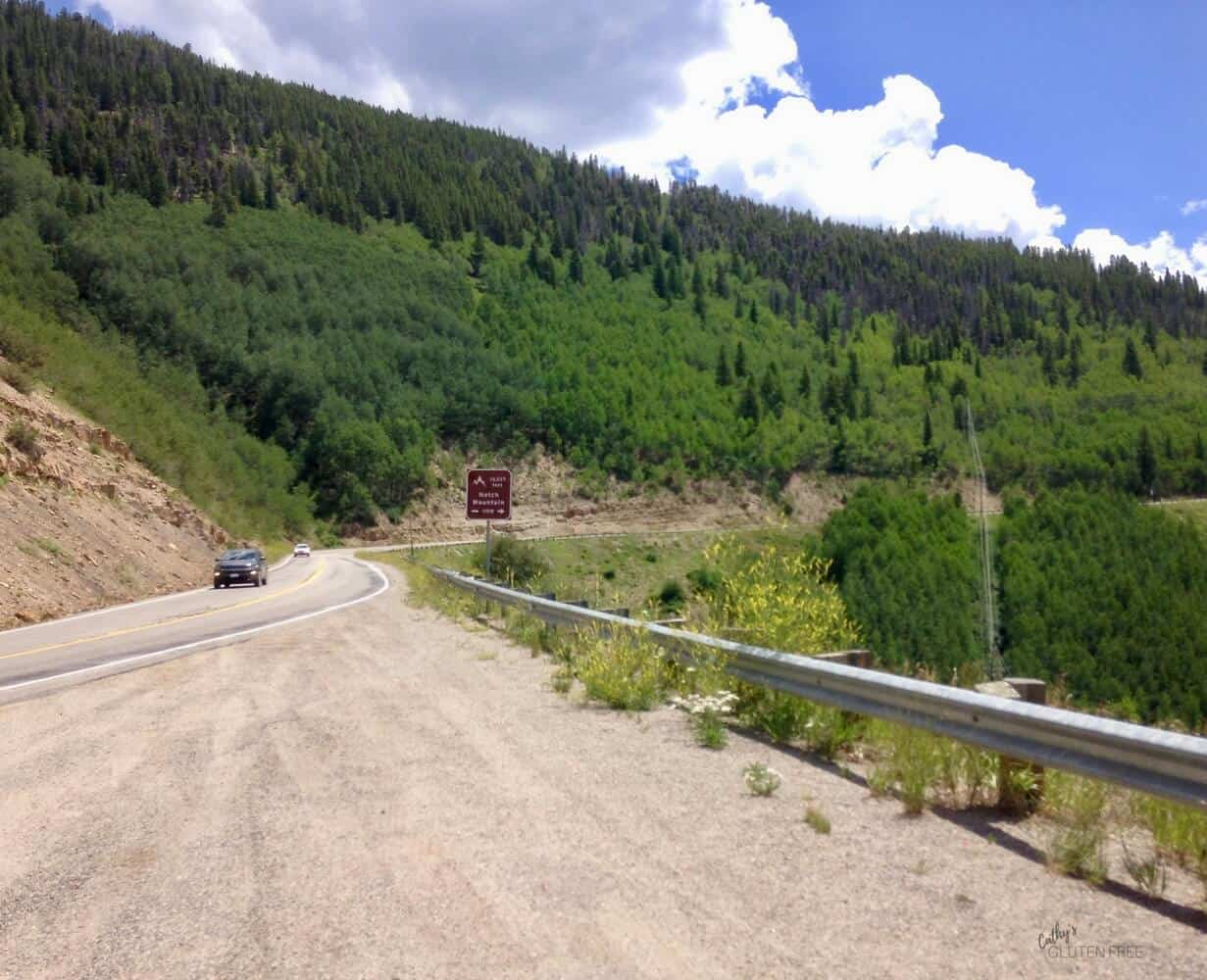 winding road on Colorado mountainside