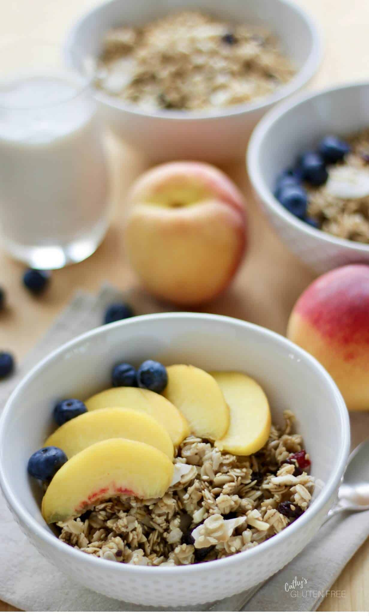 Gluten Free Granola topped with fresh fruit makes a lovely breakfast. CathysGlutenFree.com