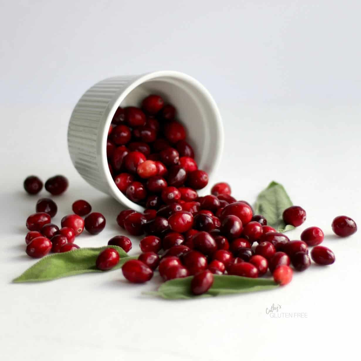 Fresh cranberries spilling from a ramekin - CathysGlutenFree.com