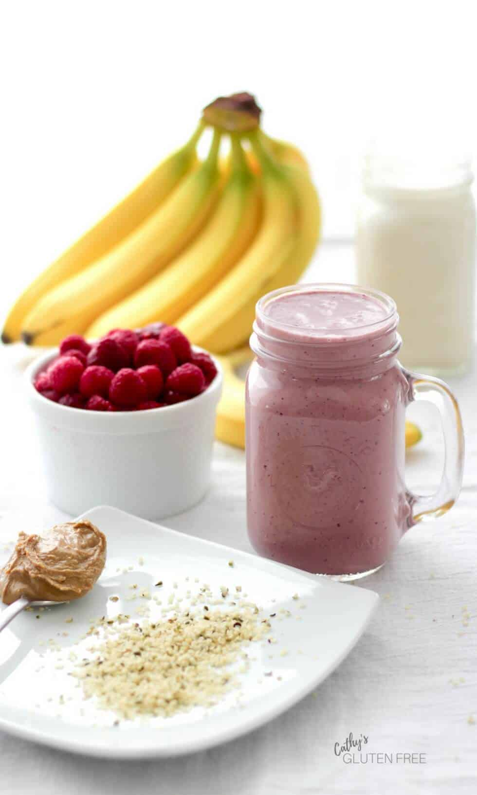 Cherry Berry Smoothie includes the goodness of banana, sunflower seed butter, and hemp.
