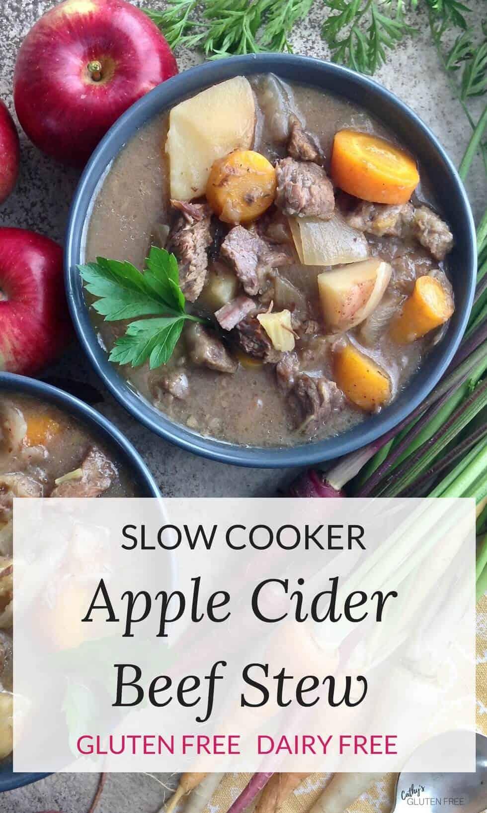 Slow Cooker Apple Cider Beef Stew [Gluten Free]