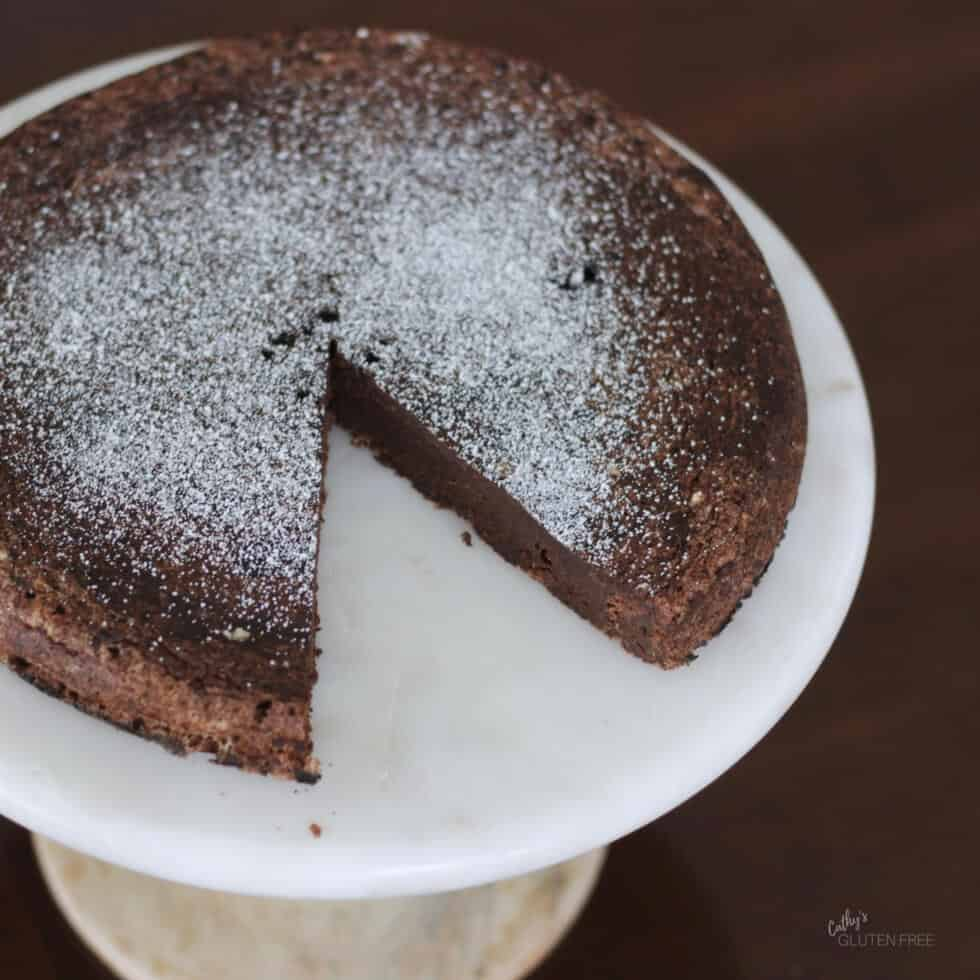 Flourless Chocolate Cake Sprinkled with Coconut Milk Powder