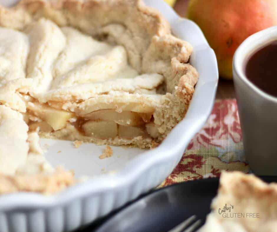 Enjoy a slice of fresh pear pie even if you have to eat gluten free!
