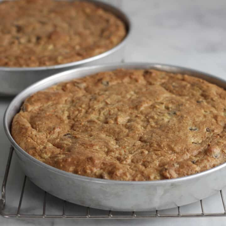 golden baked layer cakes in pans