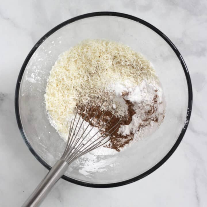 whisk in mixture of flours in glass bowl