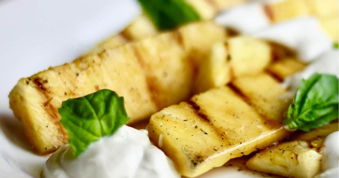 Grilled Pineapple with Maple Cardamom Sauce | gluten free, dairy free
