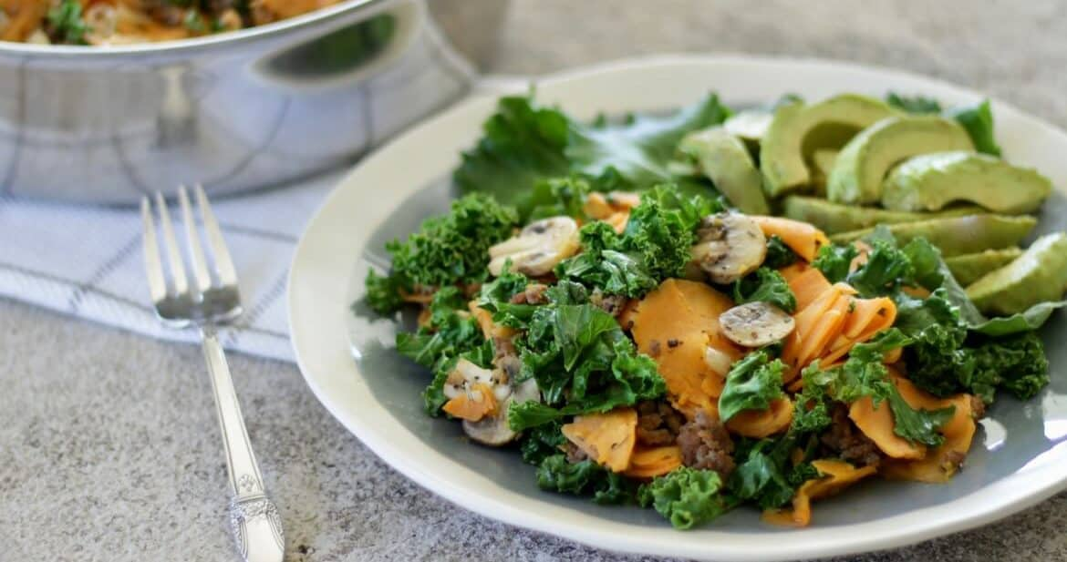 Ground Beef Skillet with Sweet Potatoes and Kale