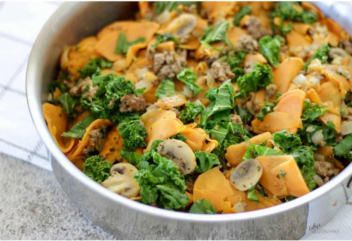One-Pan Ground Beef Skillet with Sweet Potato, Onion, Mushrooms, and Kale