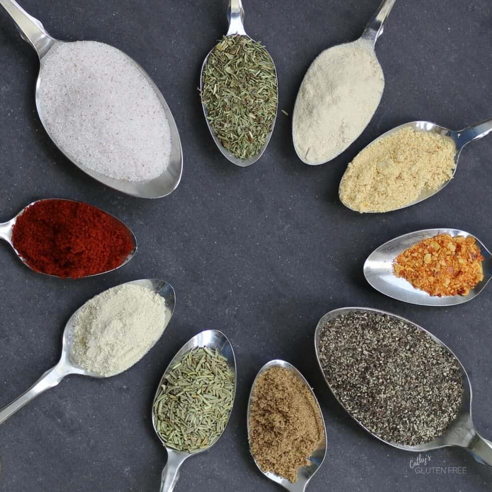 Save time by making your own spice mix once with spoons of spices.