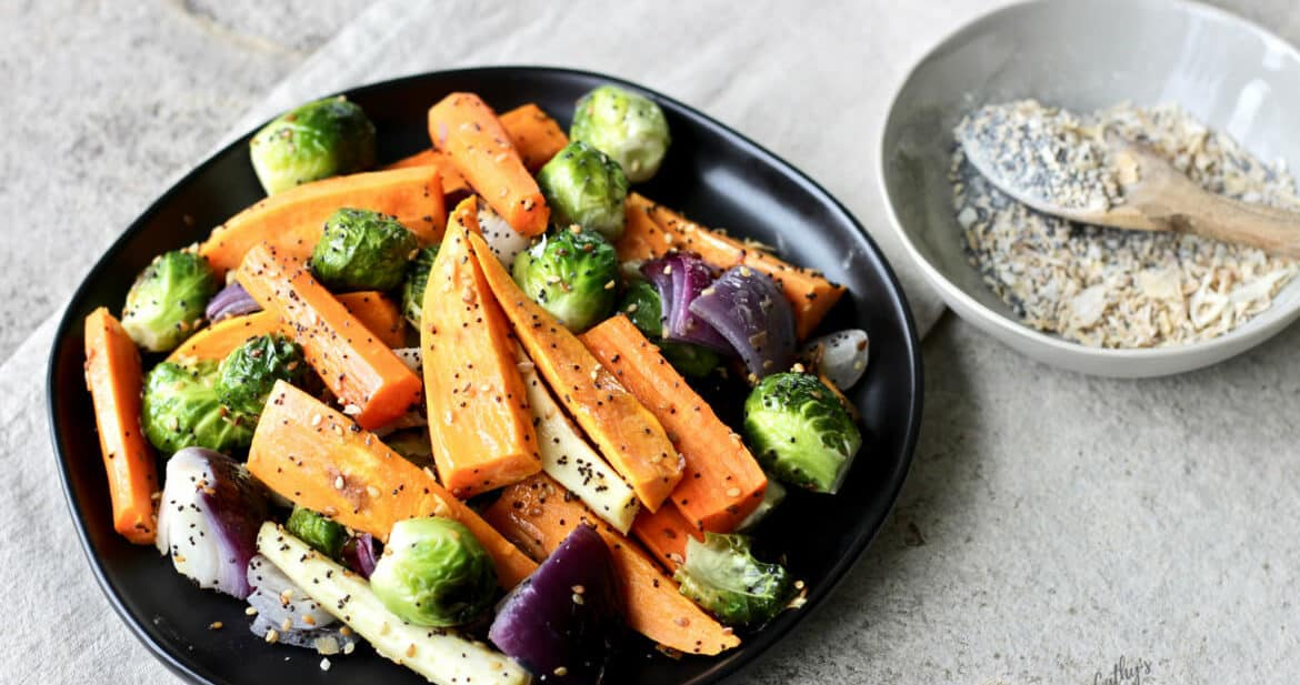 Everything Seasoning on Roasted Vegetables