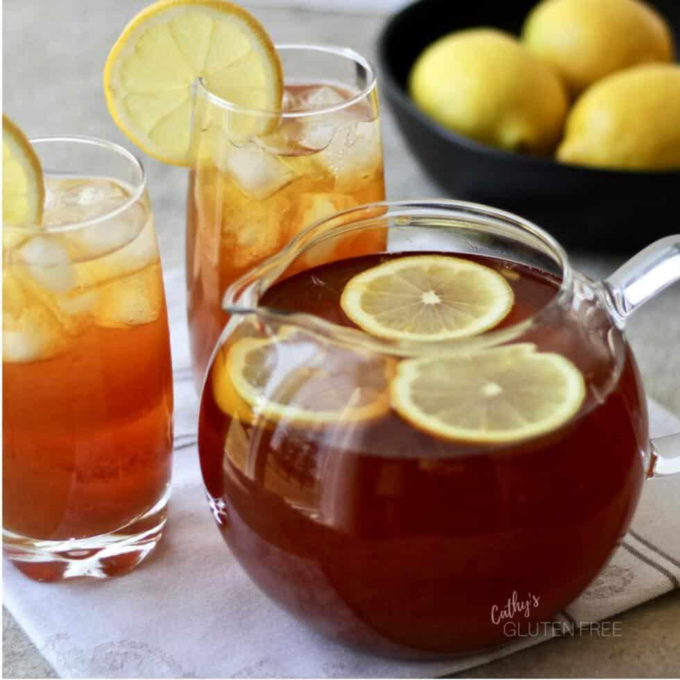 Iced Lemon Tea is refreshing garnished with slices of fresh lemon.