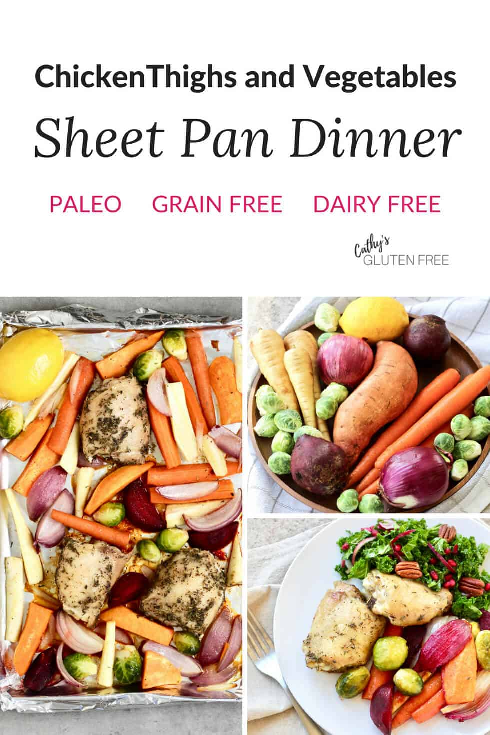 Sheet Pan Dinner with Chicken and Vegetables is a wholesome dinner on the table in under an hour! #glutenfree #sheetpan #dairyfree #healthy #chicken