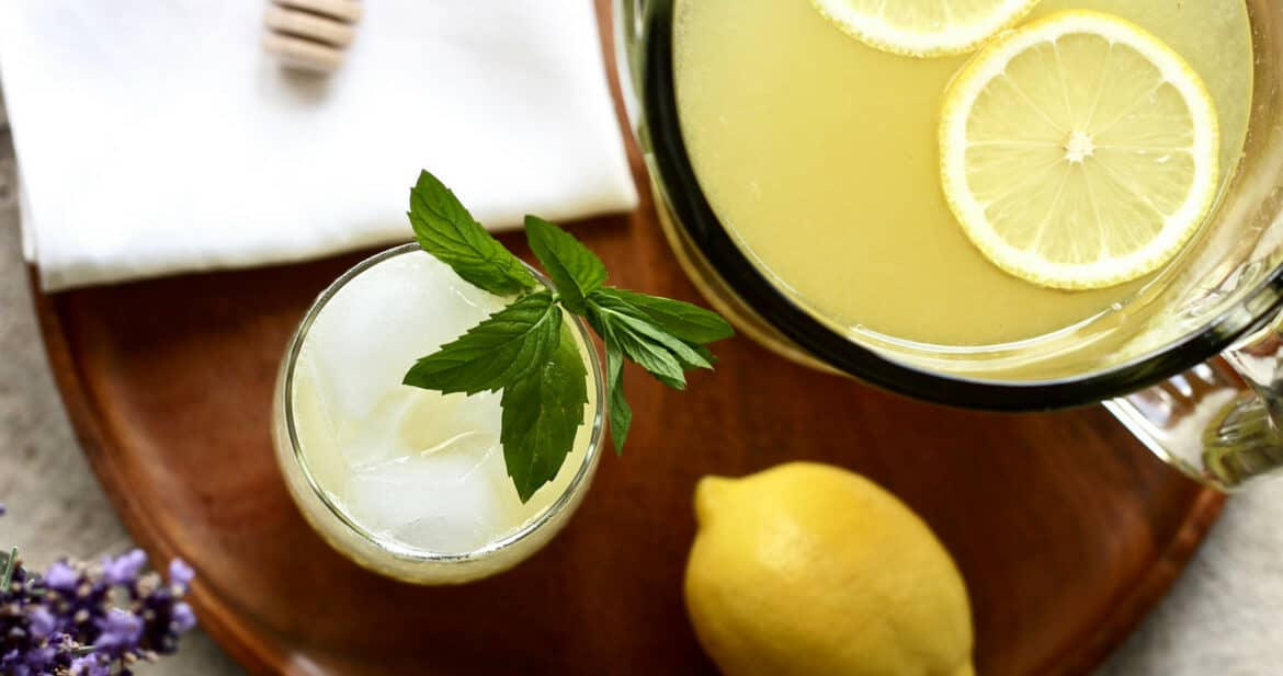 Fresh lemonade with honey and mint
