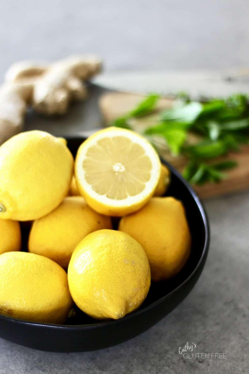Fresh lemons, ginger, mint, and raw honey are used for this great homemade lemonade recipe. #lemon #fresh #healthy #homemade #recipe