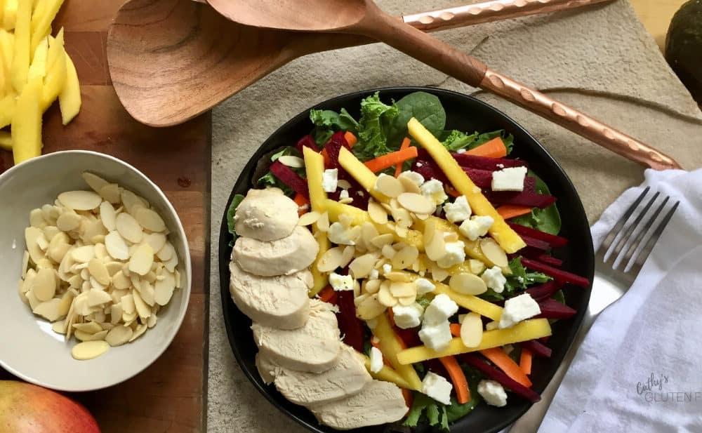 Mango Avocado Salad with Chicken and Dijon Mustard Salad Dressing