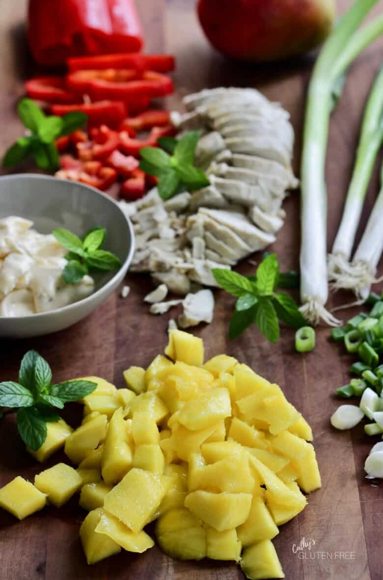 Prepped ingredients for chicken salad