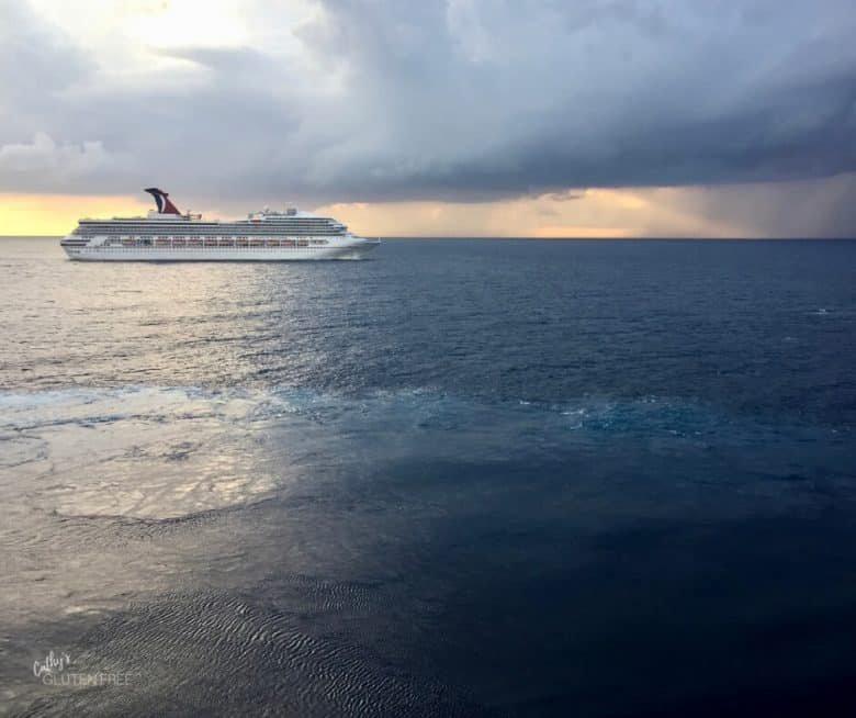 Cruise ship in dark sky