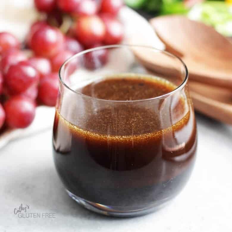 balsamic vinaigrette in clear glass bowl