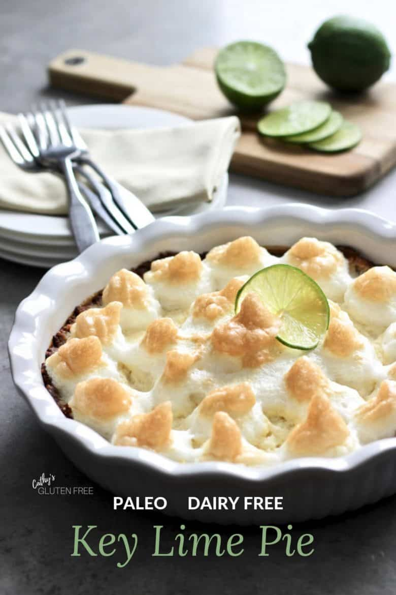 Paleo Key Lime Pie topped with meringue