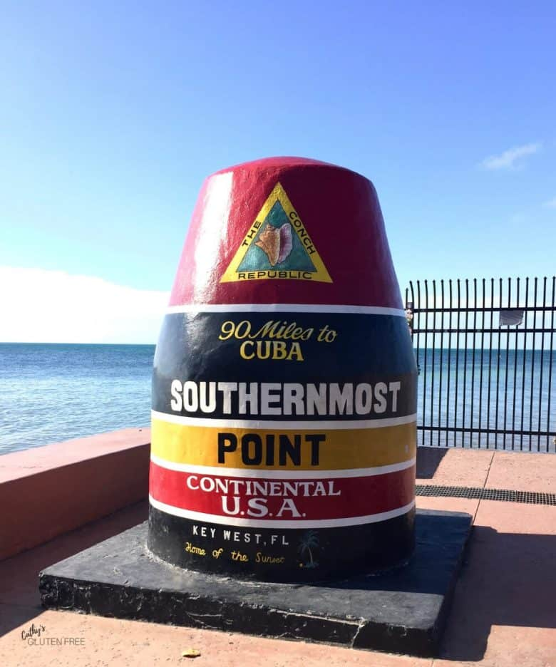 Southernmost Point beacon, stiped red, blue, and yellow