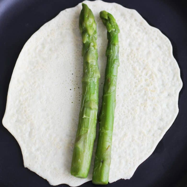 Asparagus on gluten free crepe