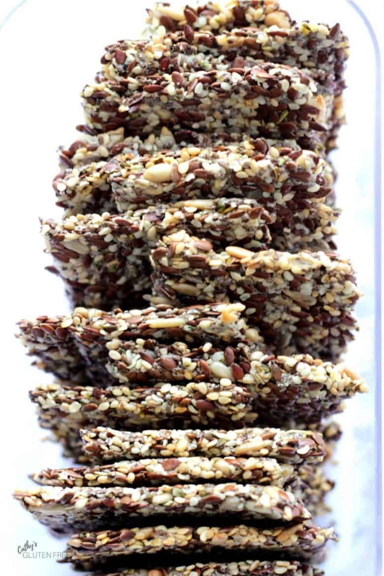 closeup of seedy crackers