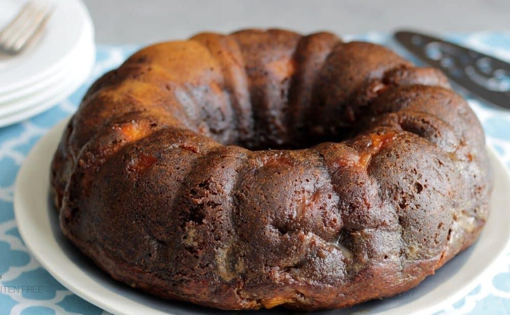 dark golden brown cake baked in a Bundt pan