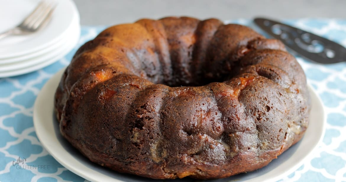 dark golden brown cake baked in a Bundt pan