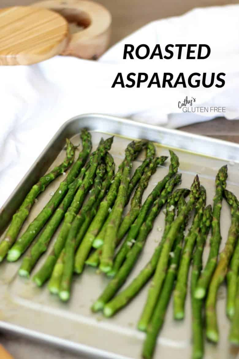 Asparagus spread out on a pan