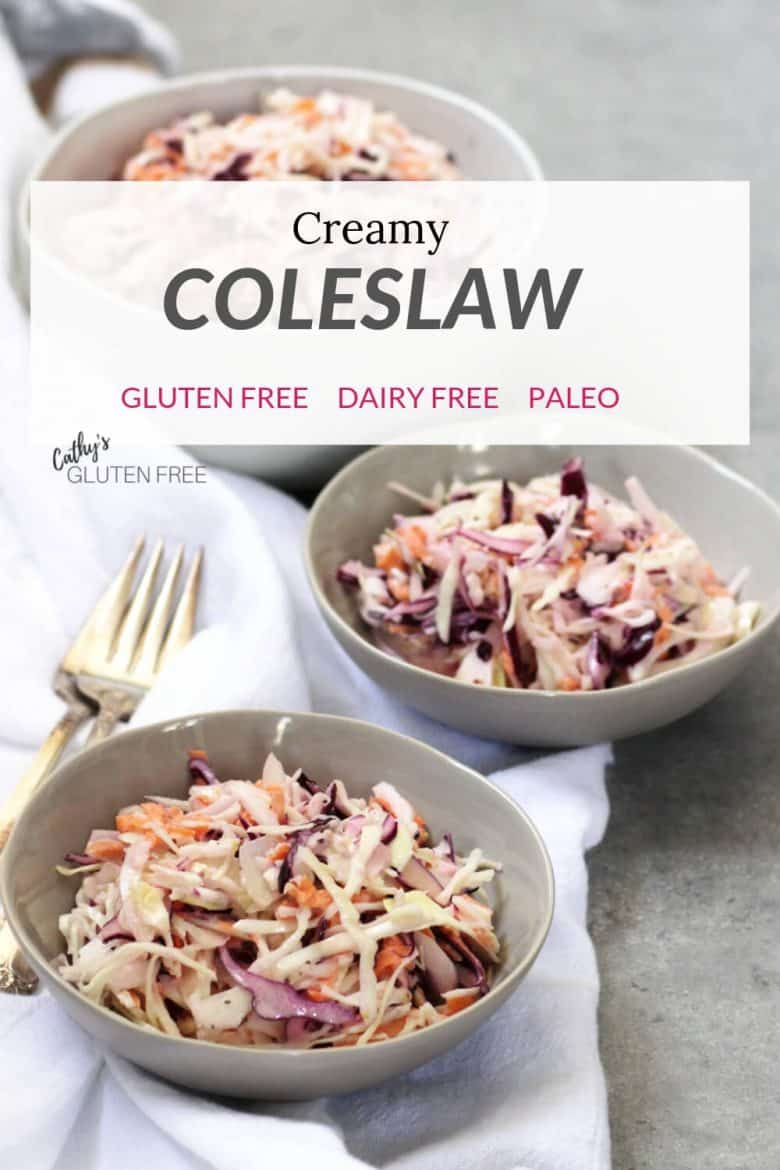 Creamy coleslaw in three bowls