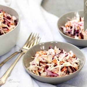 creamy coleslaw in three bowls