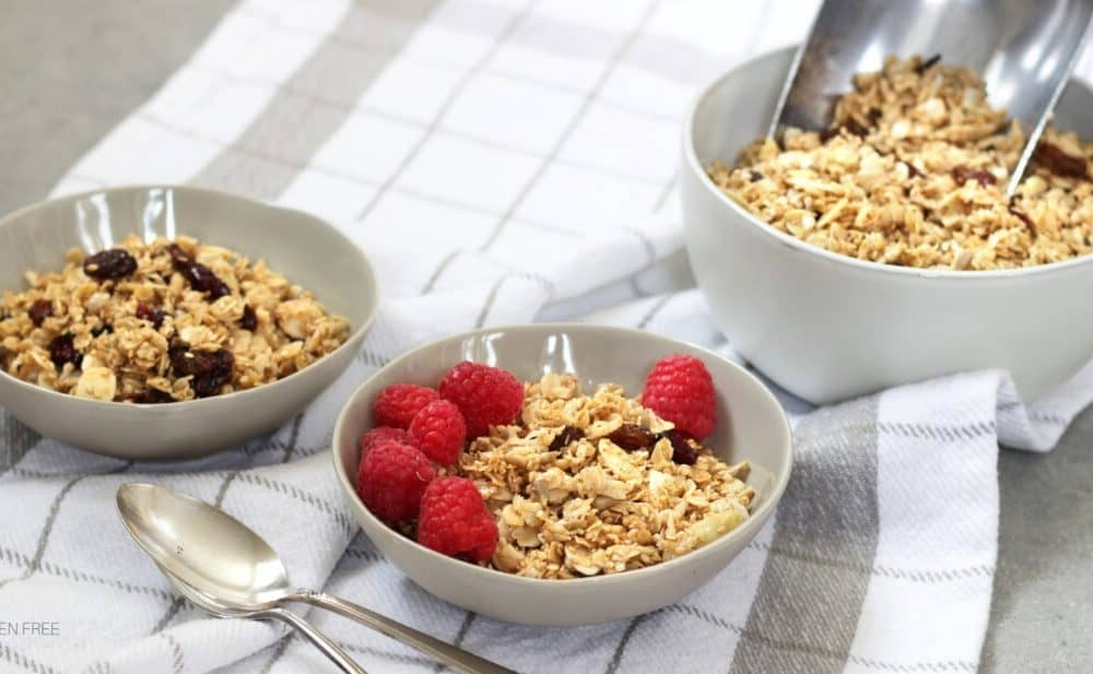 gluten free granola with raspberries