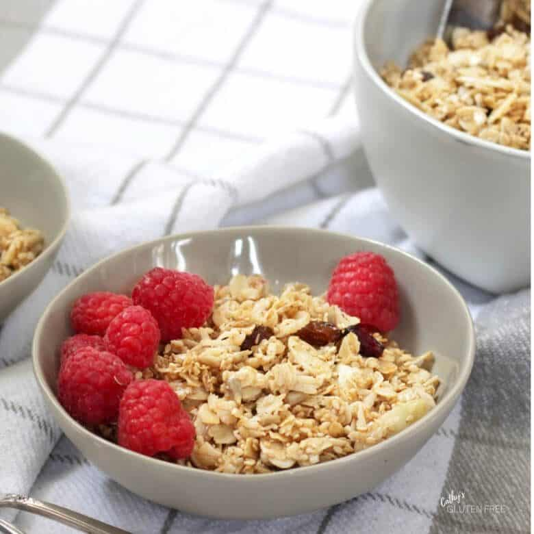 bowl of gluten free granola with raspberries on top