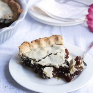 bite of raisin pie on fork