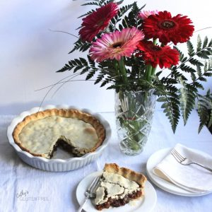 raisin pie plated with pink flowers