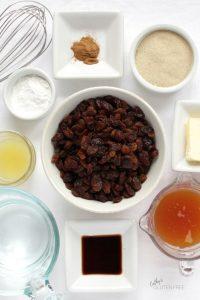 raisins, tapioca starch, cinnamon, raw sugar, butter, apple cider, vanilla, water, and lemon juice