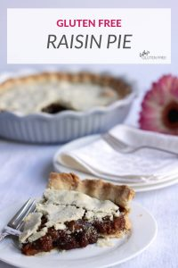 gluten free raisin pie sliced and served to one