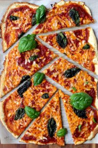 top-down view of a rectangular pizza cut into random pieces