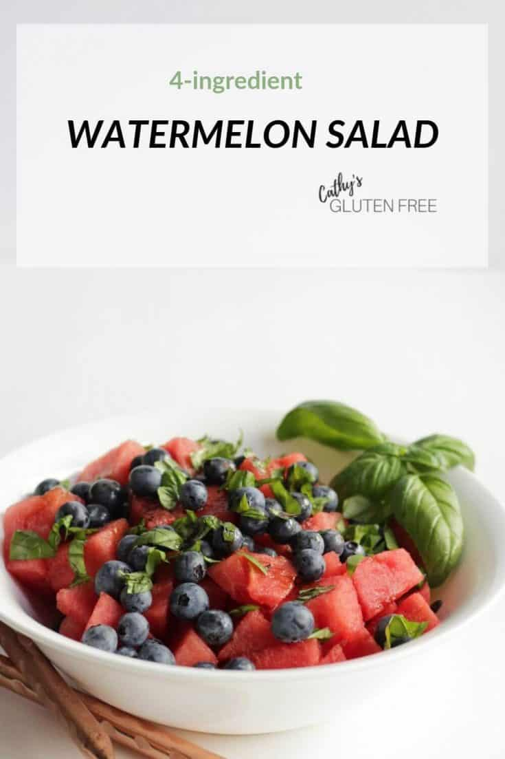 Chopped watermelon, blueberries, and basil tossed with a dressing of balsamic vinegar become the best vegan, dairy free, gluten free salad! This easy summer dish is sure to become one of your favourite recipes! #watermelon #vegan #balsamic