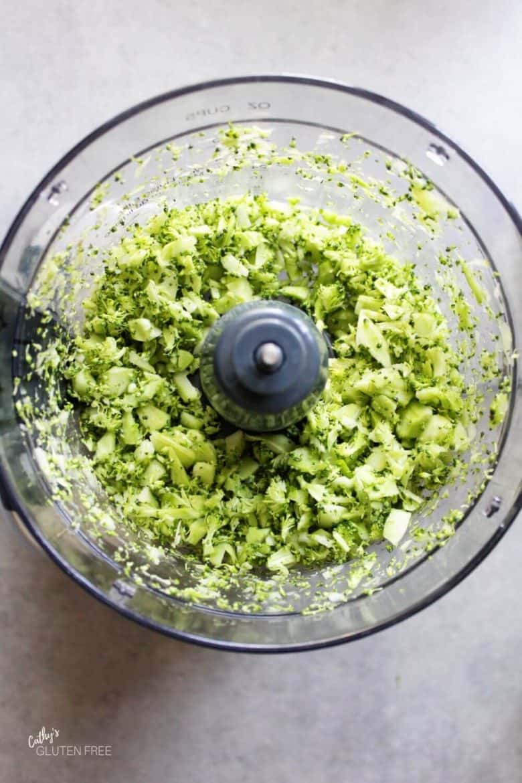 chopped broccoli in food processor