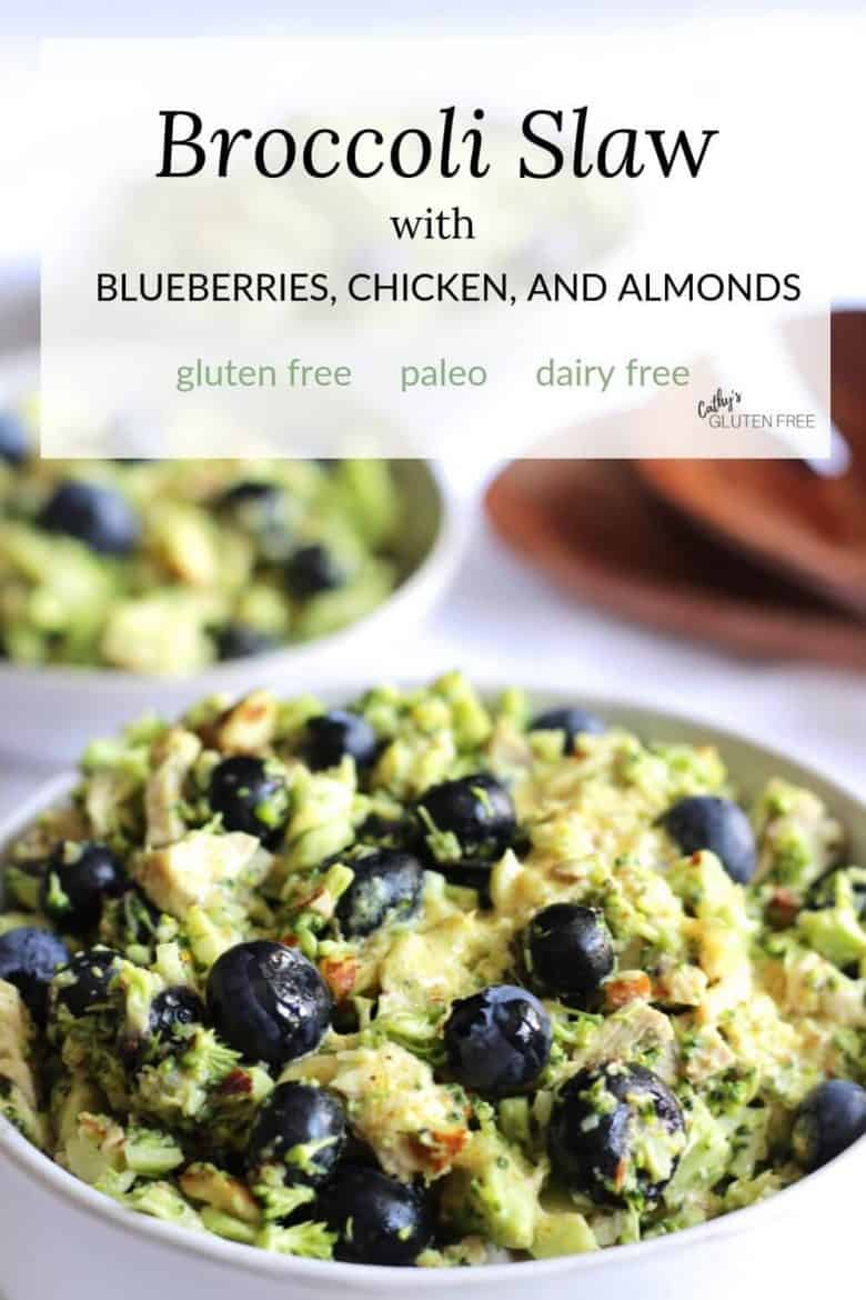 Broccoli Slaw recipe with Blueberries, Chicken, and Almonds