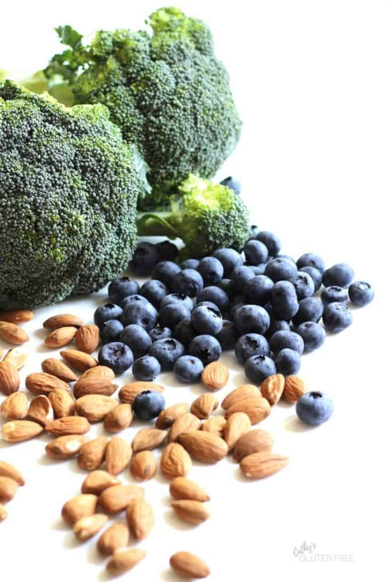 whole broccoli, blueberries, and almonds