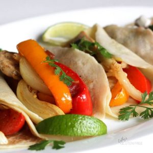 chicken fajitas in gluten free tortillas