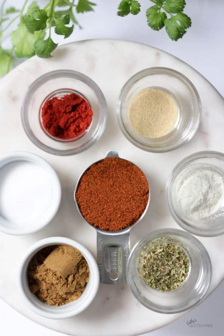 top down view of spices in small bowls