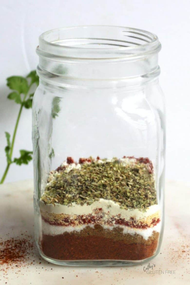 spices layered in a jar