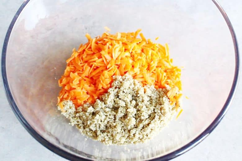 shredded carrots and quinoa