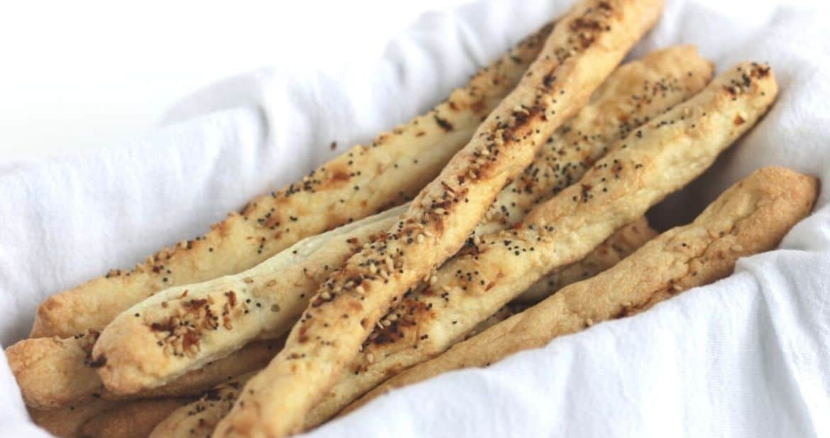 thin bread sticks sprinkled with seasoning