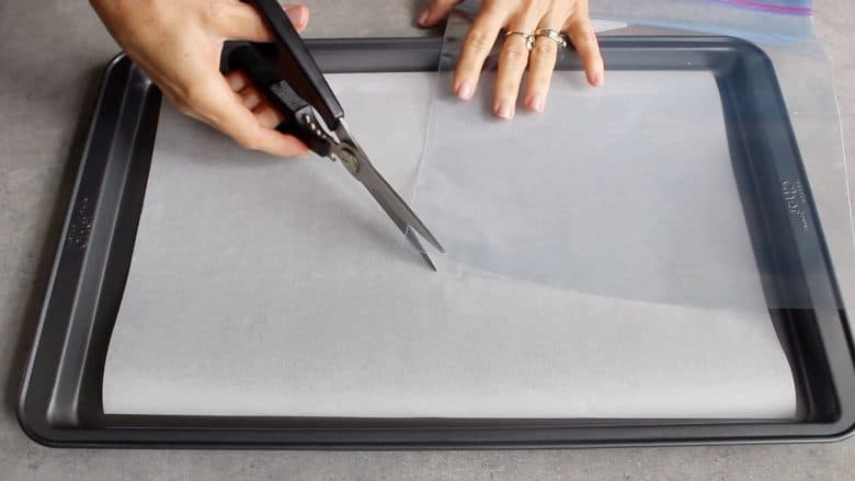 scissors cutting the corner off a clear plastic zip-top bag