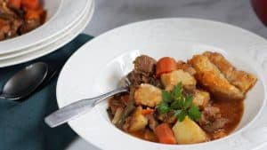 stewed beef and vegetables with some pie crust in white bowl