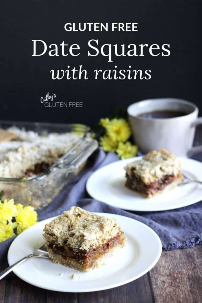 gluten free dates squares recipe made with raisins, two pieces served with tea